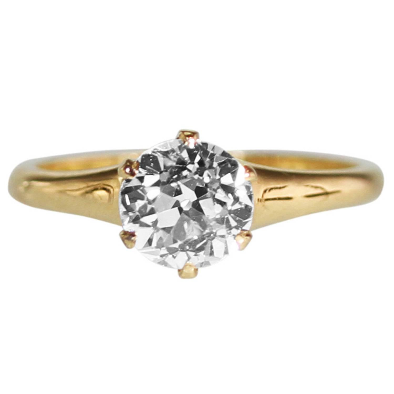 edwardian diamond gold solitaire engagement ring at 1stdibs