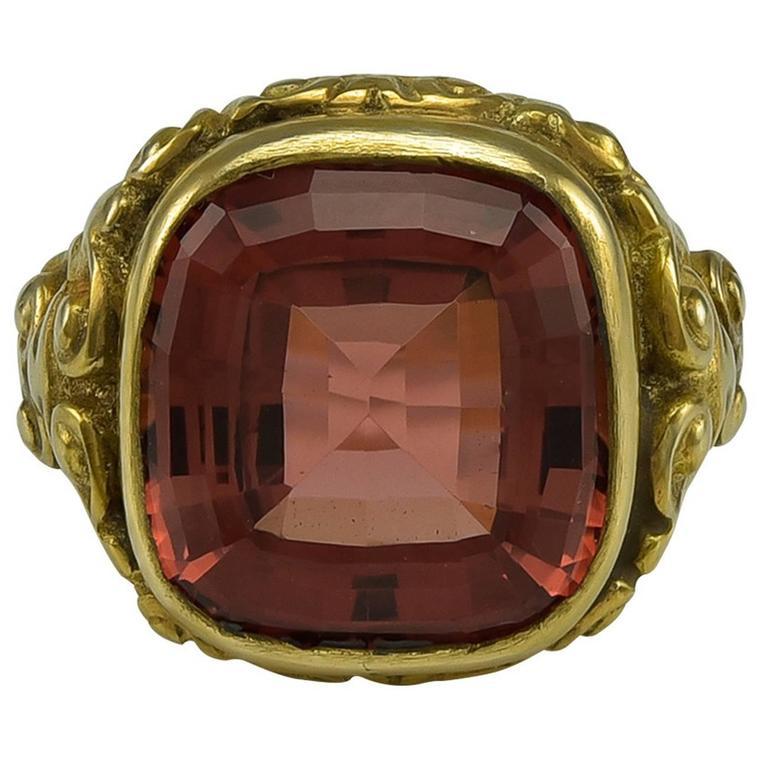Rare Colour 10 Carat Orange Tourmaline Gold Solitaire Ring