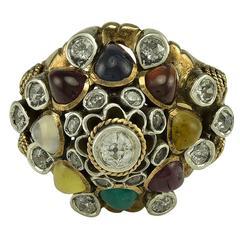 A multi Gem Set Gold Thai Princess Dome Ring