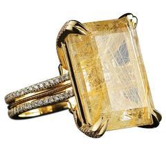 Rutilated Quartz Diamond Gold Cocktail Ring