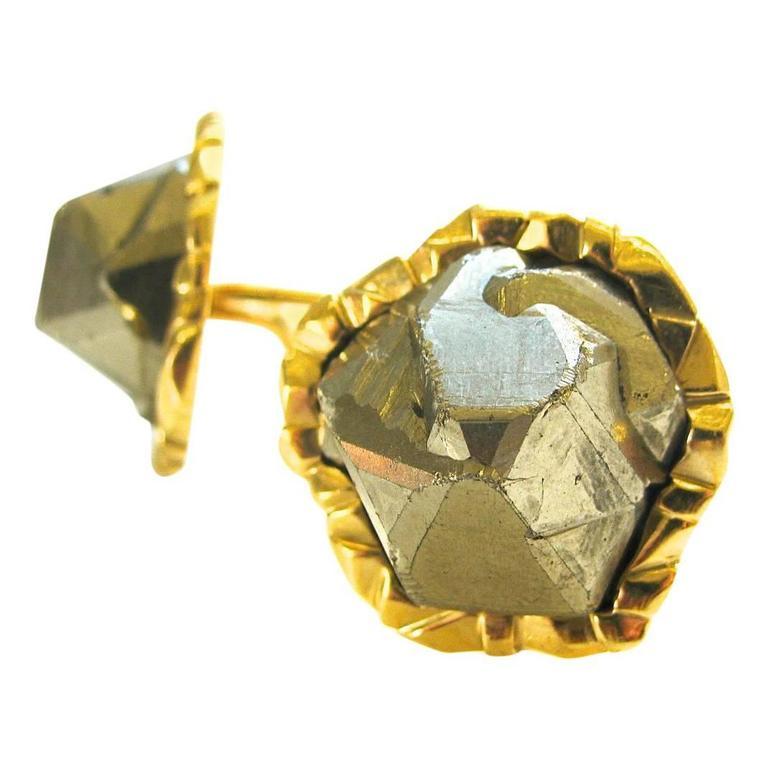 """Cartier Pyrite """"Fools Gold"""" Cufflinks, circa 1970"""