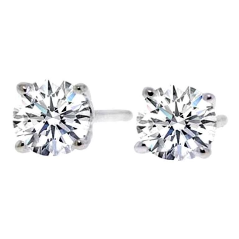 Classic 3.02 Carat Diamonds Gold Stud Earrings
