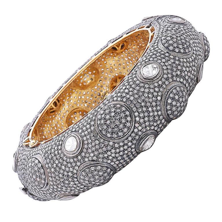 Pave Diamond Silver Gold Bangle Bracelet