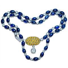 1930s Sapphire Diamond Platinum Necklace