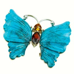 Turquoise Butterfly and Gold  Statement Brooch Pin Pendant Fine Estate Jewelry