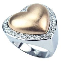 Beautiful Heart Within a Heart  Diamond Gold Ring