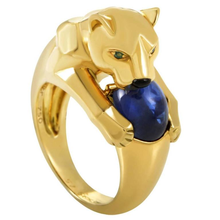 Cartier Panthere Sapphire Gold Ring For Sale