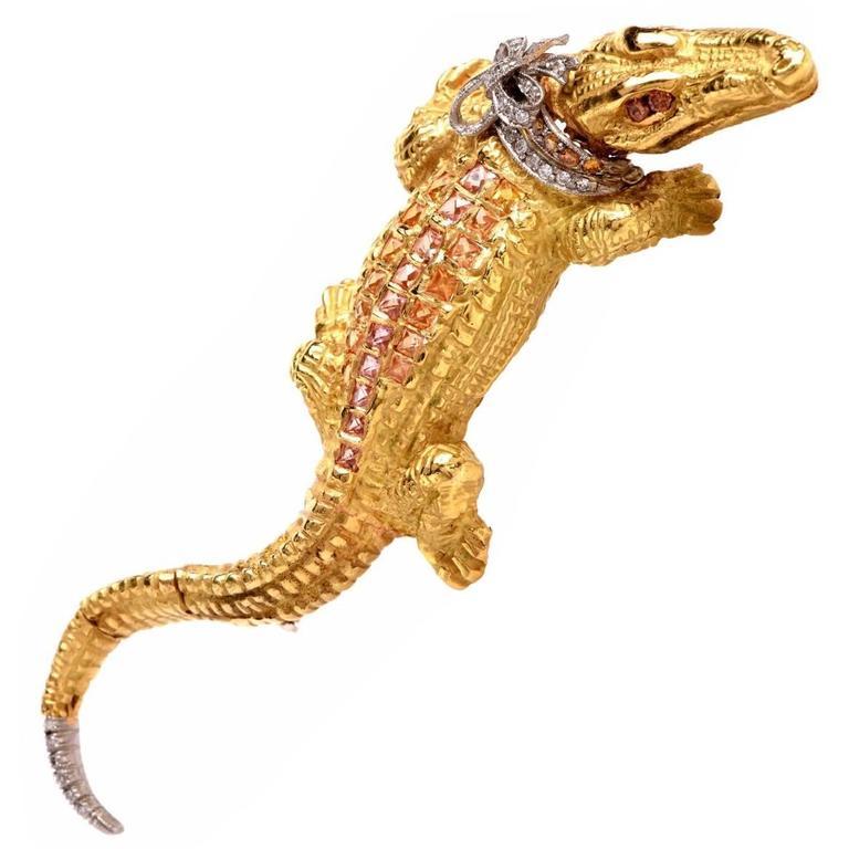 Capello Italy Sapphire Diamond Gold Alligator Lapel Brooch