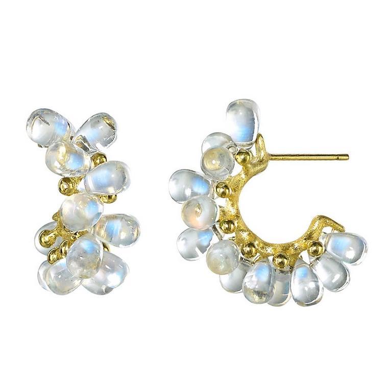 Joseph Murray Blue Moonstone Smooth Briolette Satin Gold Cluster Hoop Earrings For Sale