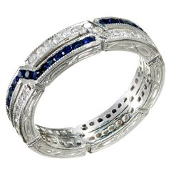 Sapphire Diamond Platinum Crisscross Design Band Ring