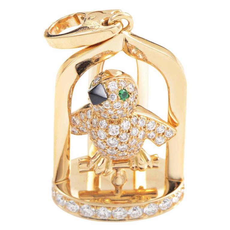 Cartier Precious Gemstone Gold Birdcage Pendant
