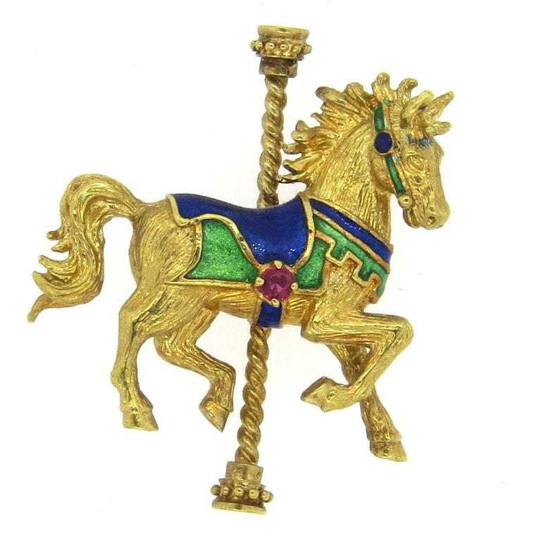 1970s Gold and Ruby Enamel Horse Carousel Brooch Pin 1
