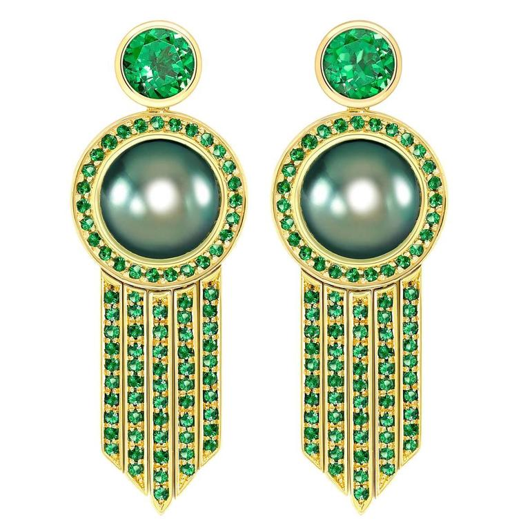Ana De Costa Tahitian Pearl Tsavorite Gold Drop Earrings 1