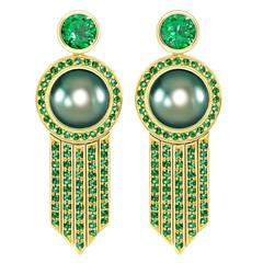 Ana De Costa Tahitian Pearl Tsavorite Gold Drop Earrings