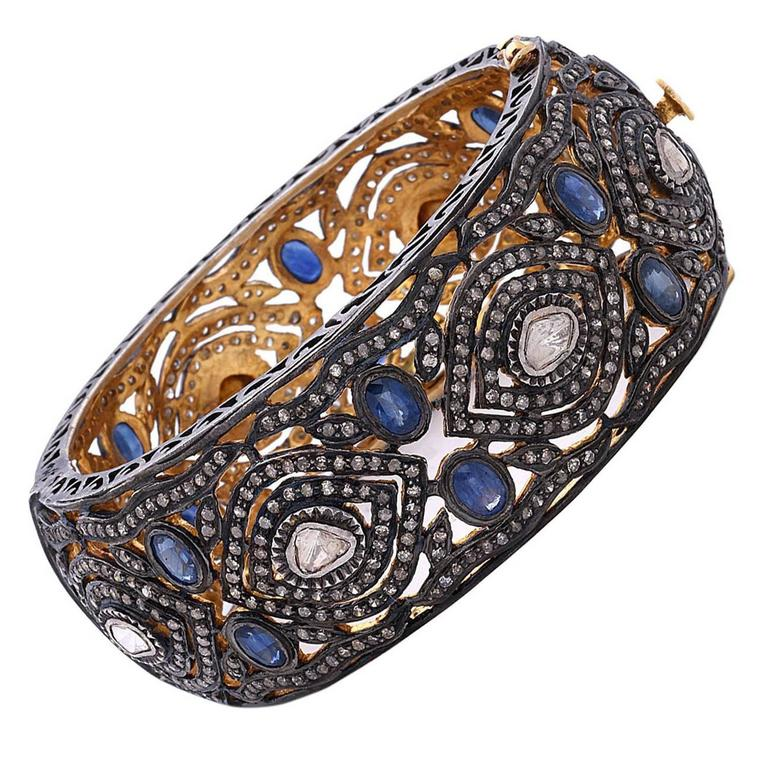 Rose Cut Diamond Sapphire Gold Silver Bangle Bracelet For Sale