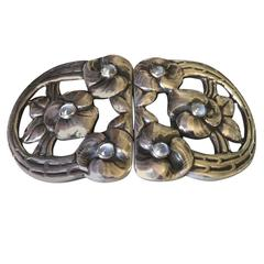 Evald Nielsen Rare Moonstone Silver Belt Buckle