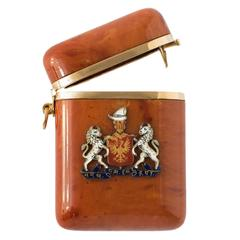 1920s Coat of Arms of Princely State of Baphnagar India Amber Gold Box