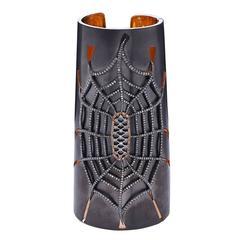 Diamond Silver Spider Cuff Bracelet