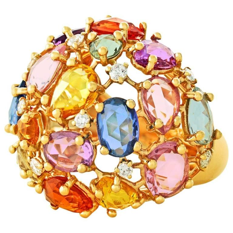 Colorful 12.0 Carat Total Weight Sapphire and Gold Ring 1