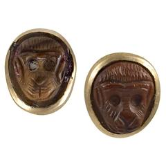 Small pair of Carved Baboon Heads in Brown Agate