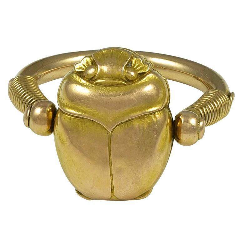 antique gold scarab locket ring at 1stdibs