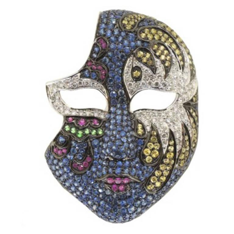 Fabulous Gemstone Sapphire Diamond Gold Face Mask  Pin For Sale