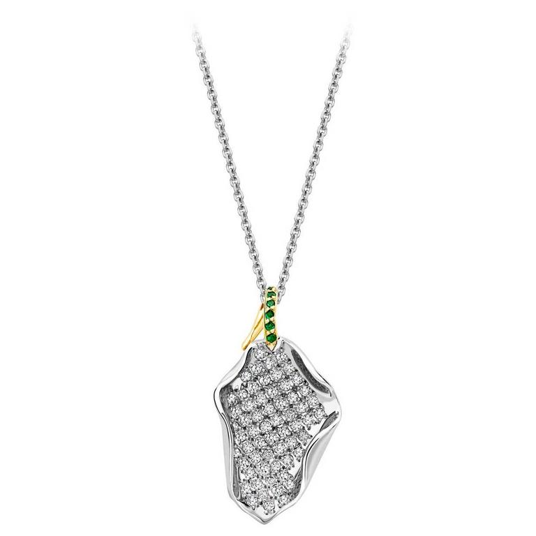 Ana De Costa Platinum Yellow Gold White Diamond Tsavorite Lotus Petal Pendant
