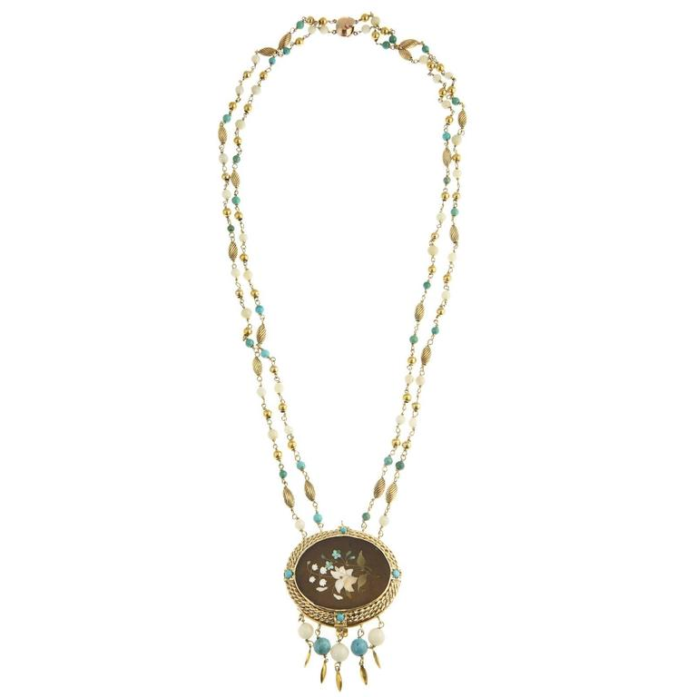 Cleopatra Inspired Turquoise and Gold Necklace with Victorian Pietra Dura Clasp 1