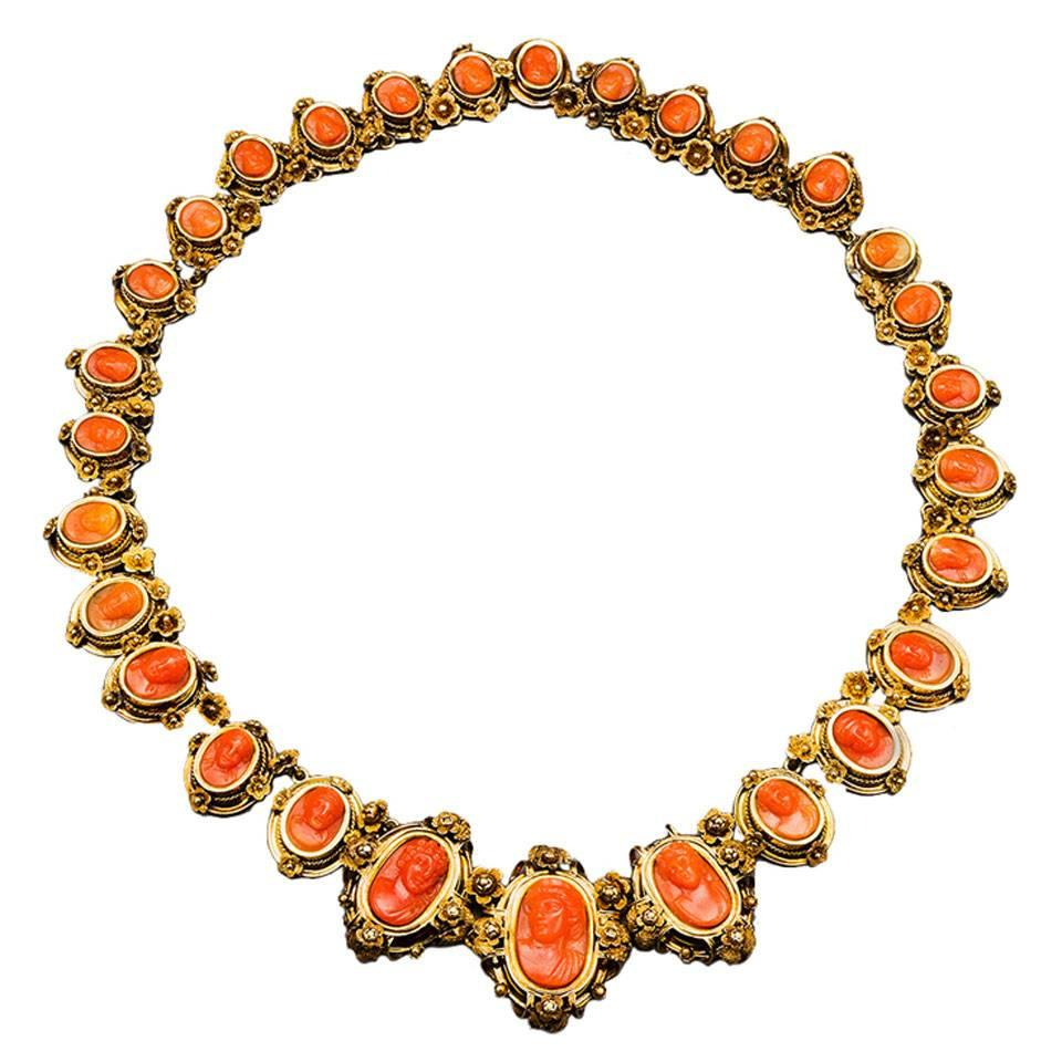 1870s Carved 18k Coral Gold Link Necklace, Torre del Greco, Italy