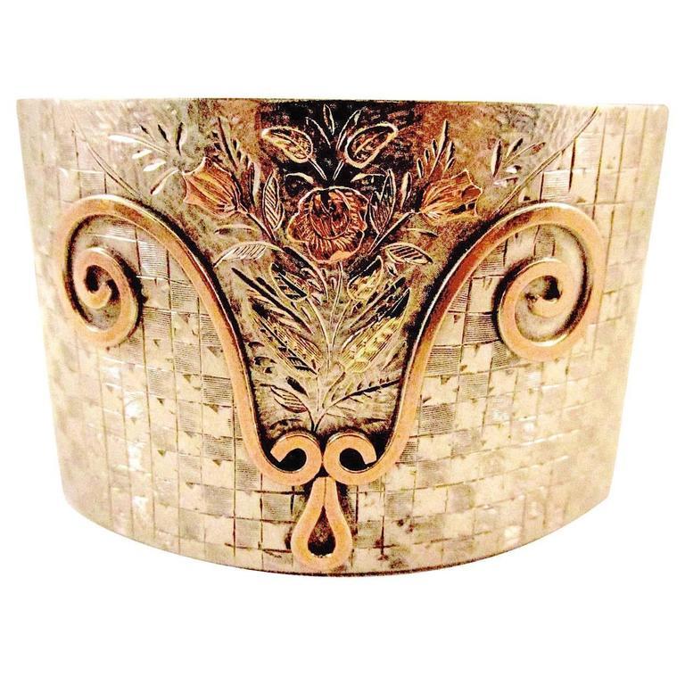 Antique Silver Gold Bangle Bracelet