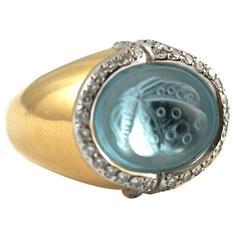 Butterfly Aquamarine Diamond Ring by Faraone
