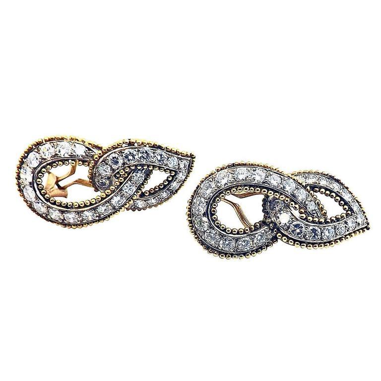 Double Gold Platinum: Double Tear Diamond Gold Platinum Drop Earclips For Sale