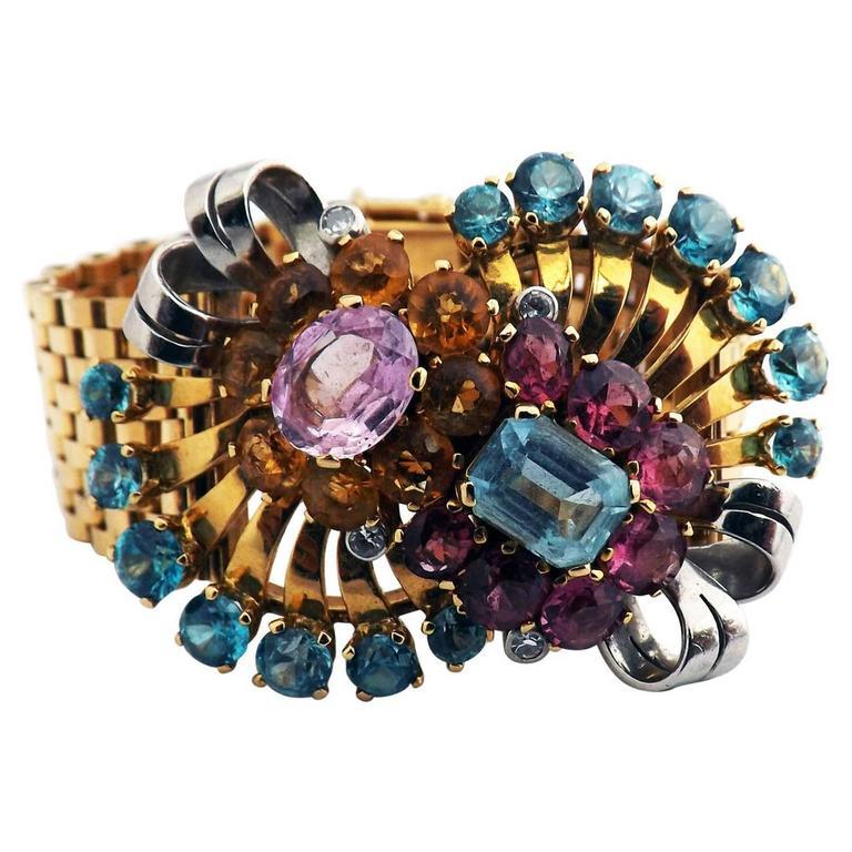 Retro Multi Gem Set Gold Bracelet 1
