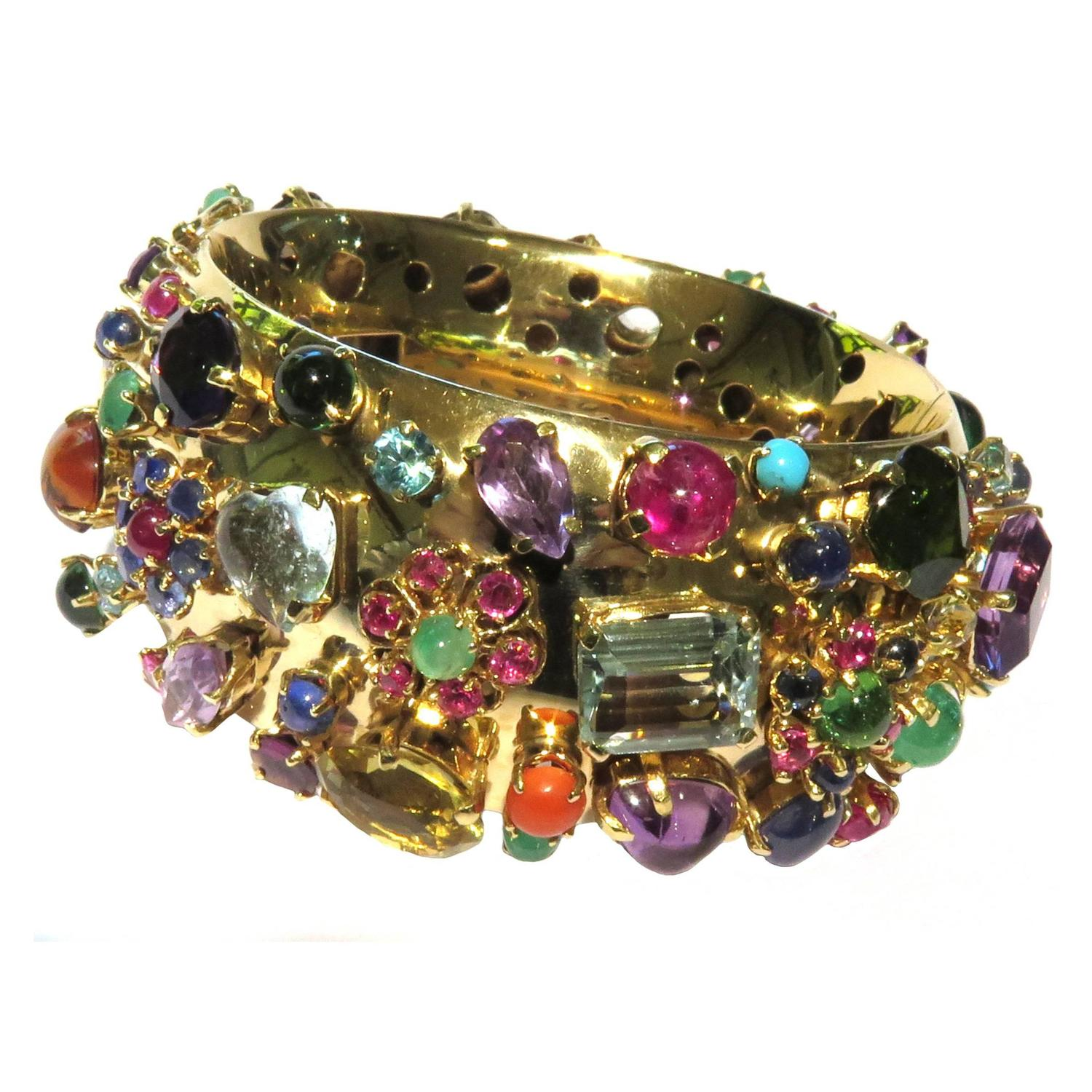 Exquisite Retro Multi Gem Hinged Gold Bangle Bracelet At. Platinum Anklet. Amber Wedding Rings. Purple Jade Earrings. Amathyst Engagement Rings. Golden Triangle Necklace. Construction Wedding Rings. Pink Rings. Titanium Pendant