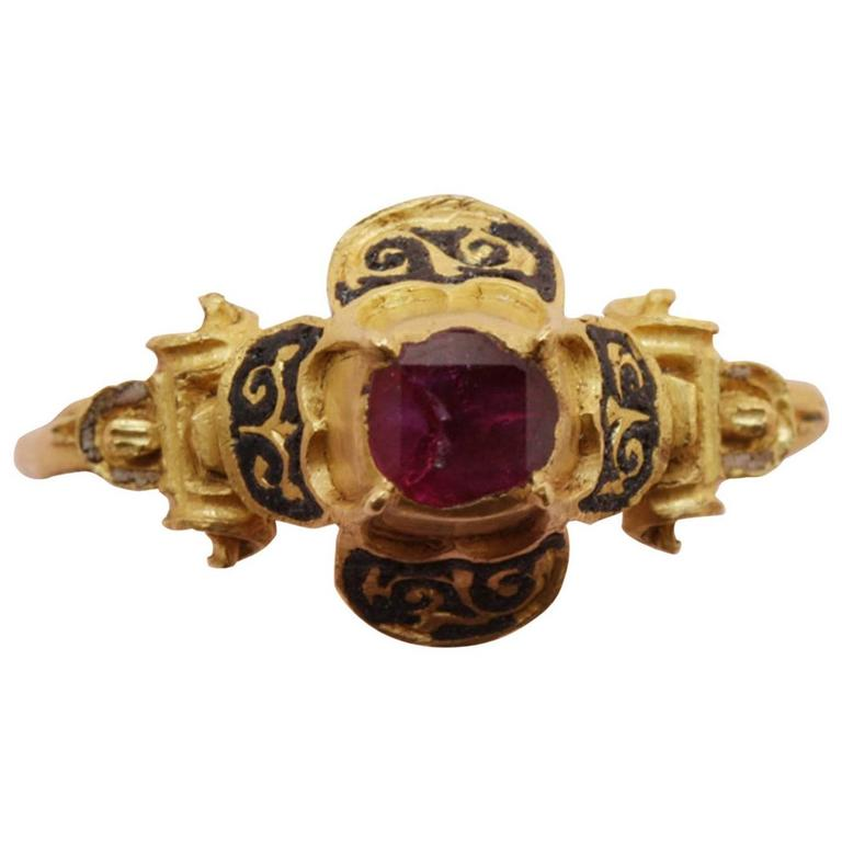 16th Century Ruby Gold Quatrefoil Renaissance Ring