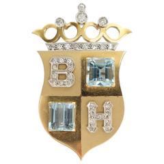 Gorgeous Aquamarine Diamond Gold Platinum Crown and Shield Brooch