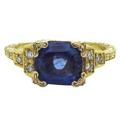 Sapphire Diamond Gold Engagement Ring in the Style 1930 Egraved