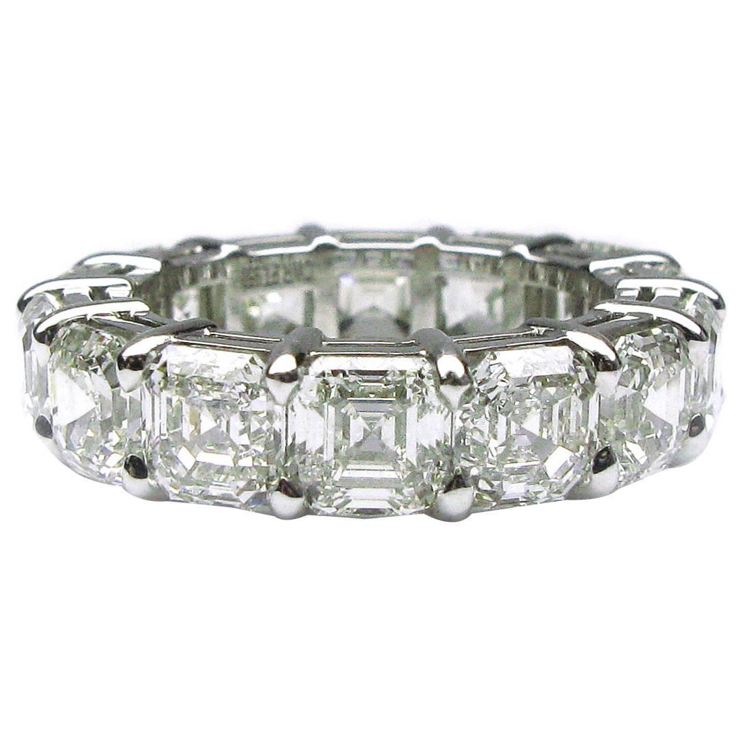 Asscher Cut Diamond Platinum Eternity Band Ring For Sale ...