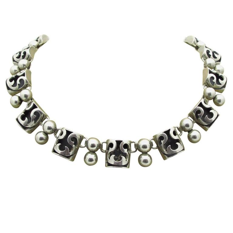 Taxco Sterling Silver Oxidized Necklace