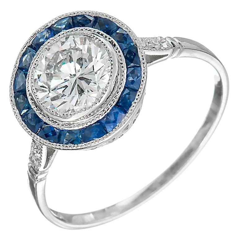 GIA Certified .95 Carat Diamond Sapphire Halo Platinum Engagement Ring