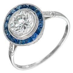 GIA Certified .95 Carat Diamond Sapphire Halo Platinum Engagement Ring