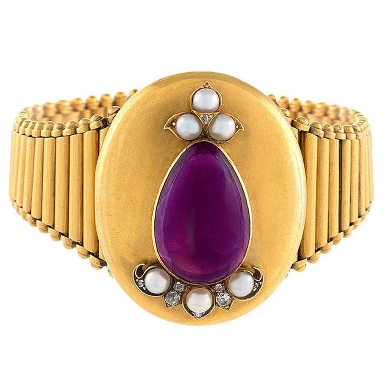 Victorian Amethyst Pearl Diamond Gold Locket/Bracelet 1