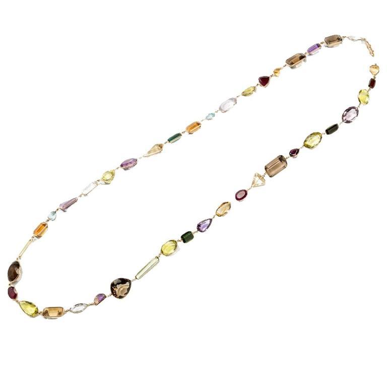 Long Gemstone Gold Necklace, USA, 1930s