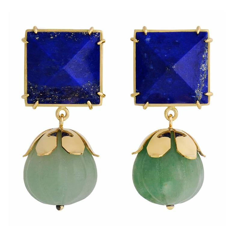 TPL Gold Lapis Carved Chrysoprase Earrings