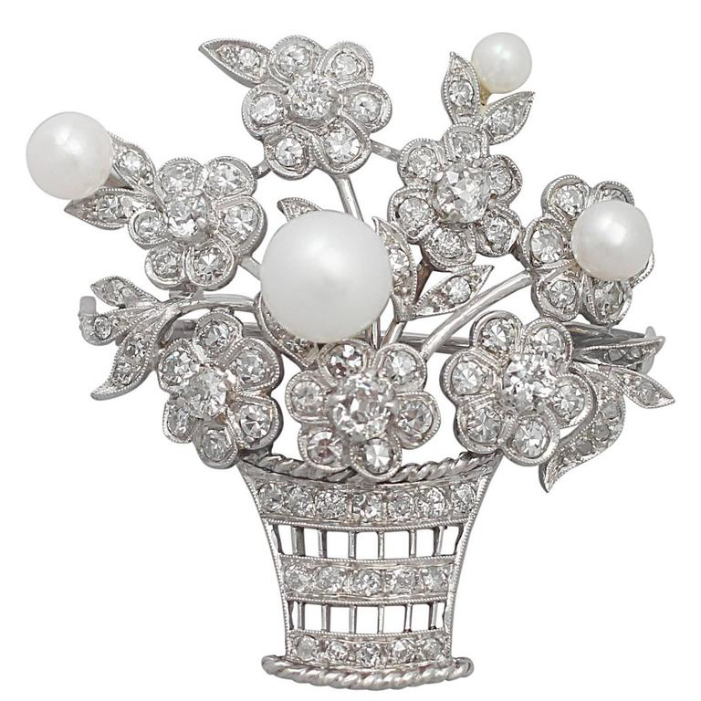 2.81Ct Diamond and Pearl, 14k White Gold Brooch - Antique Circa 1900 1
