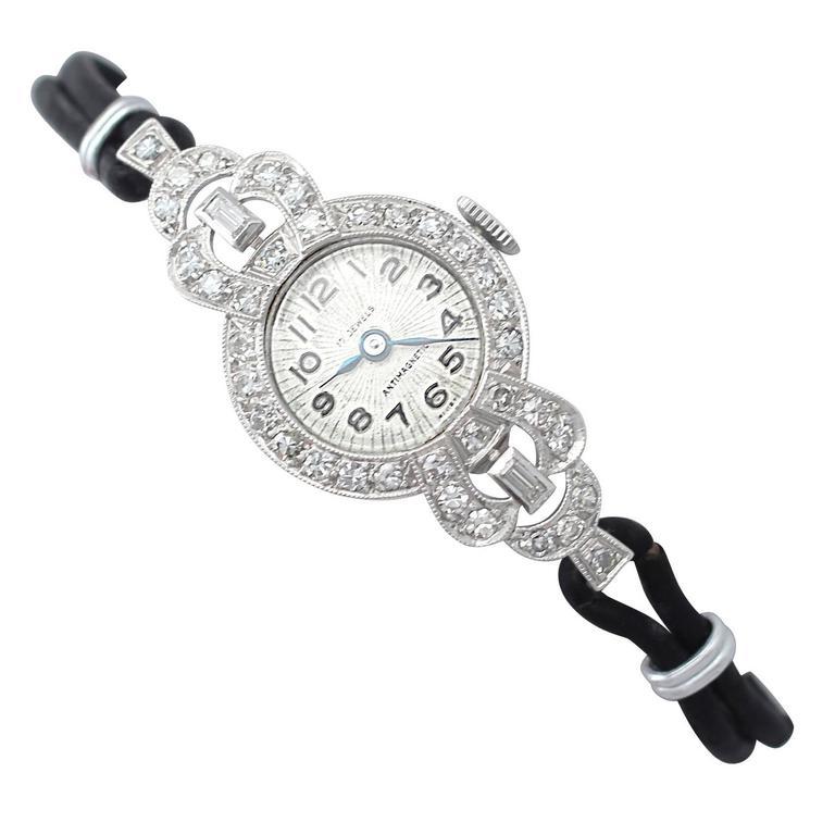 1.42Ct Diamond & Platinum Cocktail Watch - Art Deco Style - Antique Circa 1930