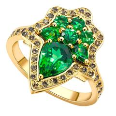 Ana de Costa Yellow Gold Green Pear Round Tsavorite Cognac Diamond Cocktail Ring