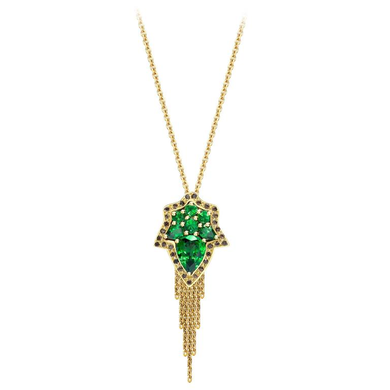 Ana De Costa Pear Green Tsavorite Round Cognac Diamond Yellow Gold Drop Pendant
