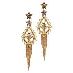 One of a kind pair of cognac diamond dress earrings