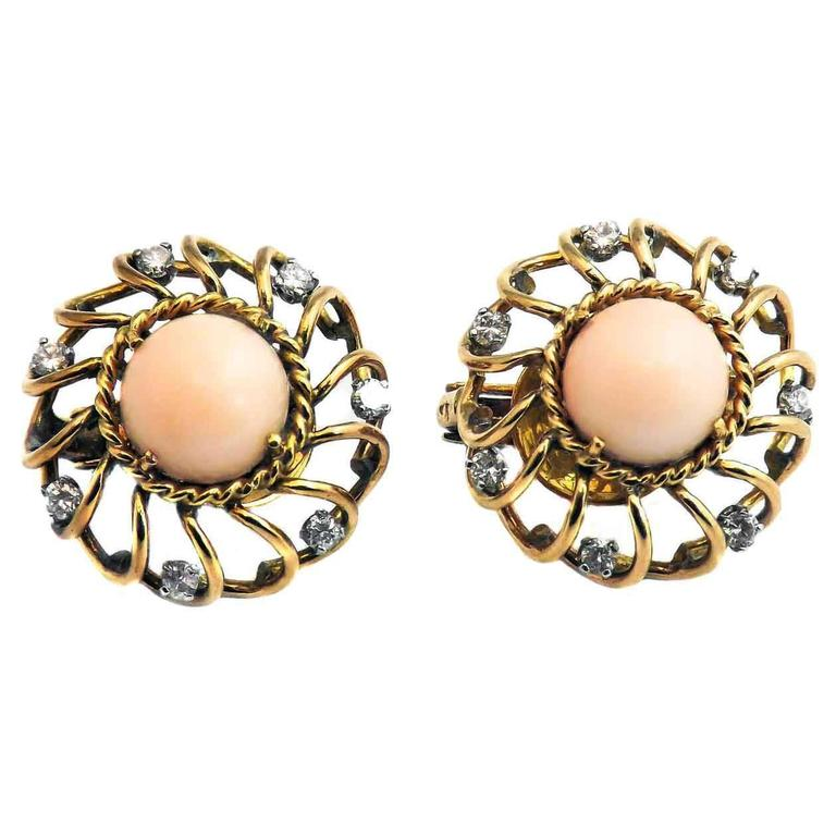Retro Coral Diamond Gold Earrings